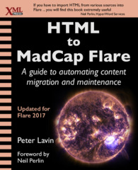 Cover of HTML to MadCap Flare, linked to Amazon.com